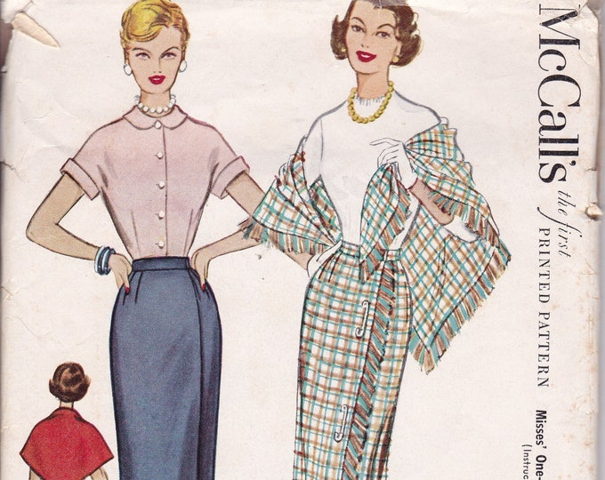 FREE US SHIP McCall's 9480 Sewing Pattern Vintage Retro 1950s 50s Wrap Around Skirt Stole 1953 Neatly Cut