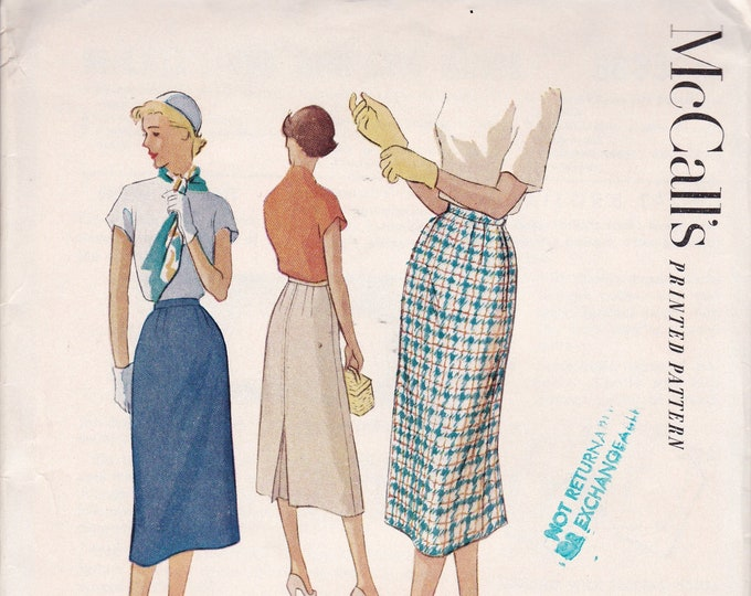 FREE US SHIP McCall's 8885 Sewing Pattern Vintage Retro 1950s 50s 1952 Slim Kick Pleat Skirt Waist 26 Neatly Cut