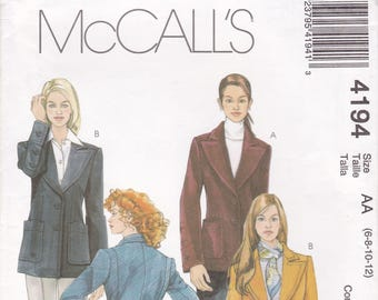 FREE US SHIP McCall's 4194 Sewing Pattern Detailed Jacket Button Turn cuff, Back Belt Wide lapel Uncut Size 6 8 10 12 Bust 30.5 31.5 32.5 34