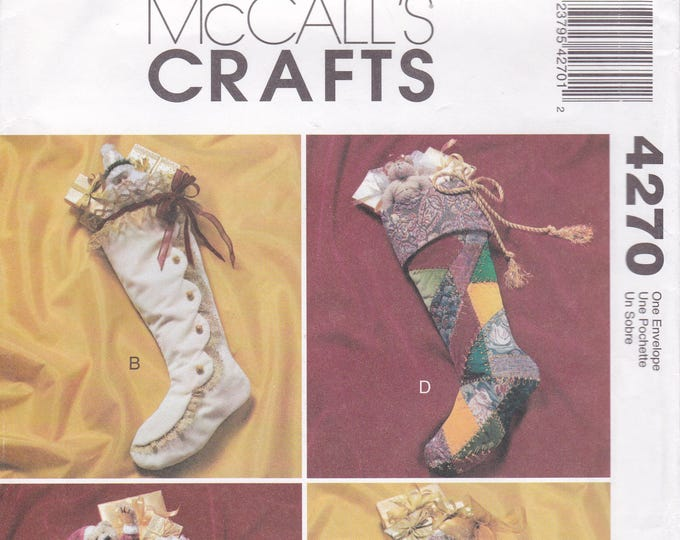 FREE US SHIP McCalls 4270 Sewing Pattern Victorian Boot Stocking Uncut Designer Joanne Beretta Christmas