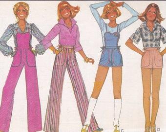 3881a258139 Sewing Pattern McCall s 5856 Uncut Vintage Retro 1970s 70s Jumpsuit  Overalls Romper Shorts Tie waist Uncut New Jr size 5 6 7 8 FREE US SHIP