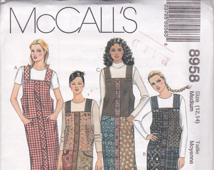 FREE US SHIP McCalls 8958 Sewing Pattern Uncut Retro 1990s 90's Loose Fitting Jumper Button Straps Size 12 14 Bust 34 36 Factory Folded