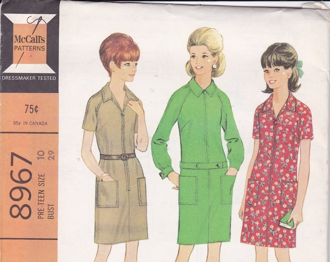 FREE US SHIP McCall's 8967 Vintage Retro 1960s 60s Sewing Pattern Factory Folded Step In Zipper Mod Dress Pre Teen Size 8 Size 10 bust 28 29