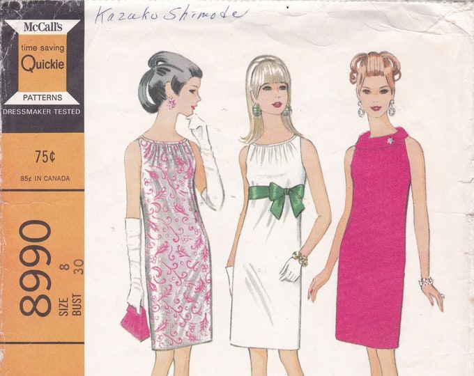FREE US SHIP McCall's 8990 Vintage Retro 1960s 60s Sewing Pattern Mod Shirred Ruched Neck Cocktail Dress Neatly cut size 8 Bust 30
