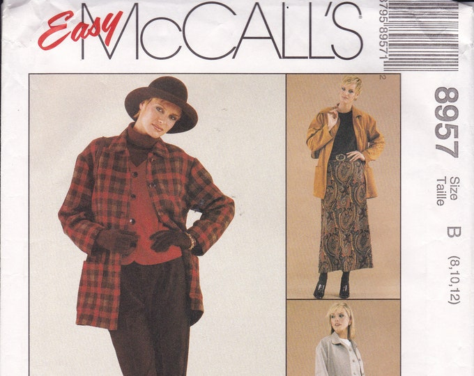 FREE US SHIP McCalls 8957 Sewing Pattern Sew News Jacket Top Pants Coat Vest 8 10 12 Bust 31.5 32.5 34 Uncut Separates Wardrobe