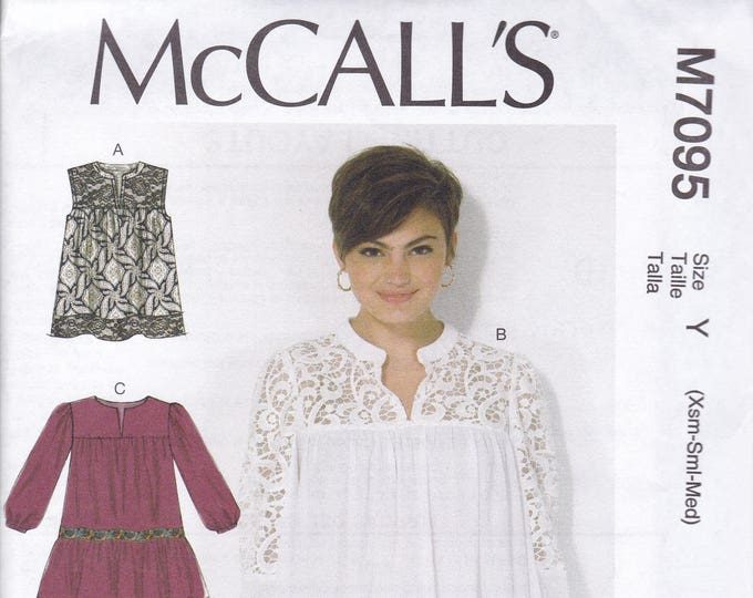FREE US SHIP McCalls 7095 Smock Yoked Top tunic Blouse  Easy pullover Sewing Pattern Size 4/14 4 6 8 10 12 14  Bust 29 30 32 34 36 New