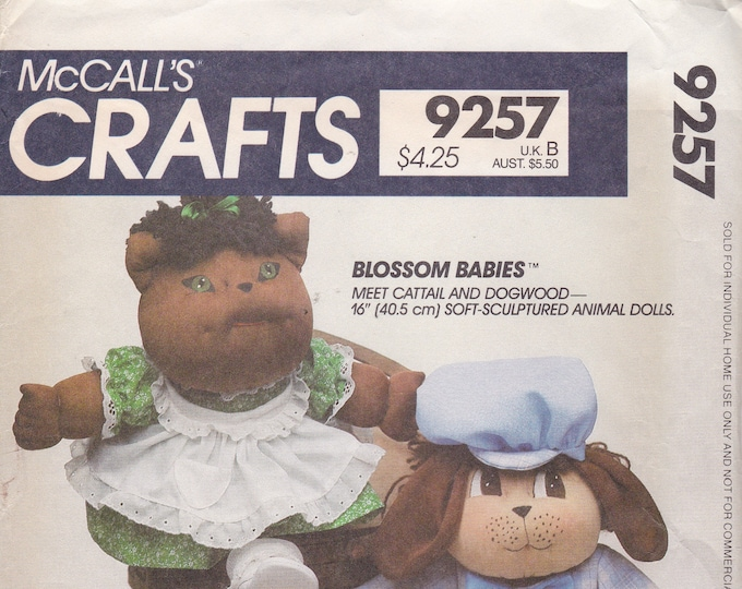 FREE US SHIP McCalls 9257 Vintage Retro 1980s 80s Factory Folded Soft Sculptured Blossom Babies Doll Cattail Dogwood Animal Faye Wine ff