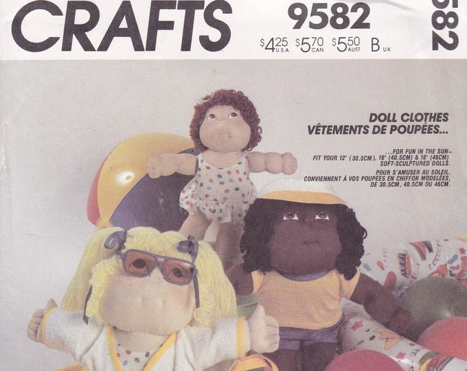 FREE US SHIP McCalls 9582 Vintage Retro 1980s 80s Cpk Cabbage Patch Kids Wardrobe Clothes for Doll 12 16 18 Factory Folded Soft Sculptured