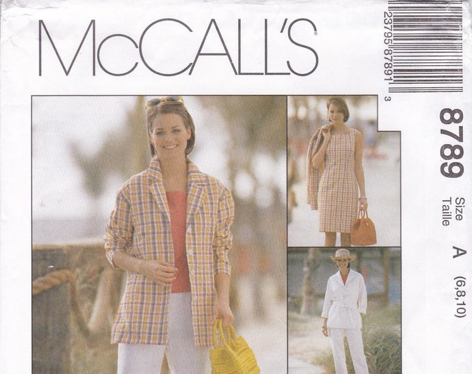 Free Us Ship Sewing Pattern Retro 1990s 90's McCall's 8789 Non Stop Wardrobe Easy Dress Jacket Top Pants Sizes: 6 8 10 12 14 16 18 New