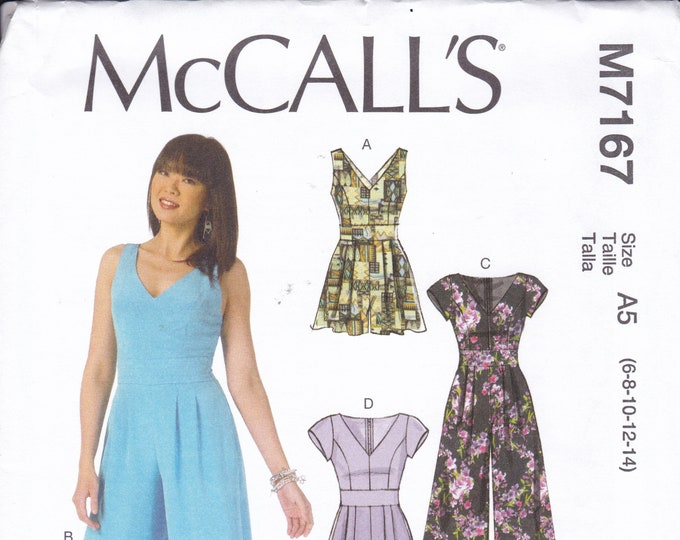 FREE US SHIP McCall's 7167 Sewing Pattern Jumpsuit Romper Criss Cross Backless  Size 6/14 14/22 Bust 30 31 32 34 36 38 40 42 44 plus size