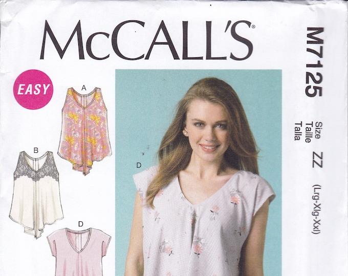 FREE US SHIP McCall's 7125 Sewing Pattern Casual Tops Tunic Loose Fitting Size 4/14 16/26  plus size uncut