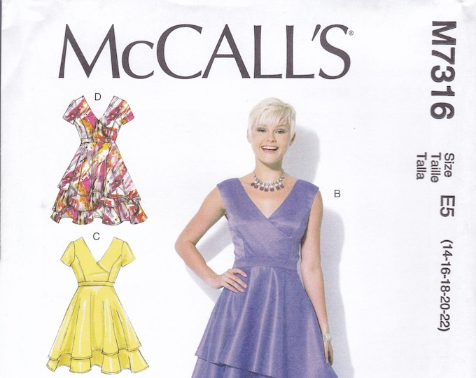 FREE US SHIP McCalls 7316 Sewing Pattern Dress Layer bias cut Skirt V Neck Size 6/14 14/22  Bust 30 32 34 36 38 40 42 44 New Uncut