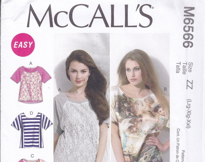 FREE US SHIP McCall's 6566 Sewing Pattern Casual Tops T Shirt Size  4/14 16/26  plus size uncut