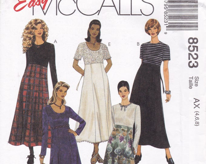 Free Us Ship McCalls 8523 Sewing Pattern Loose Fitting Empire 8 Gored Skirt Dress Size 4 6 8 10 12 14  Bust 29 30 32 34 36 Retro 1990s 90's