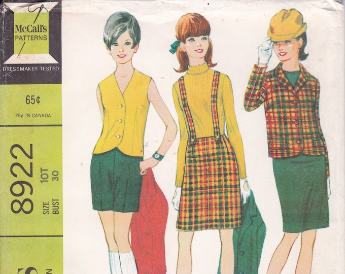 FREE US SHIP McCall's 8922 Vintage Retro 1960s 60s Sewing Pattern Factory Folded Separates Wardrobe Vest Skirt Jacket size 10 Teen Bust 30