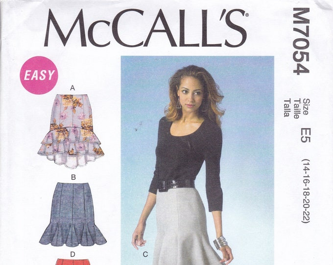 FREE US SHIP McCall's 7054 Sewing Pattern Gored Godets Skirt Evening Length New Size 14 16 18 20 22  Bust 36 38 40 42 44 Plus
