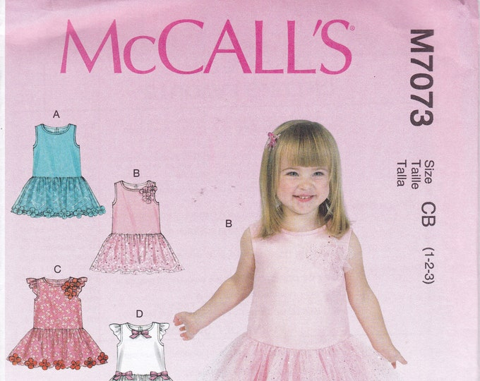 FREE US SHIP Shipping Sewing Pattern McCall's 7073 Toddlers Baby Girl Dress ruffle Pants Size  1 2 3 4 5 6  Uncut