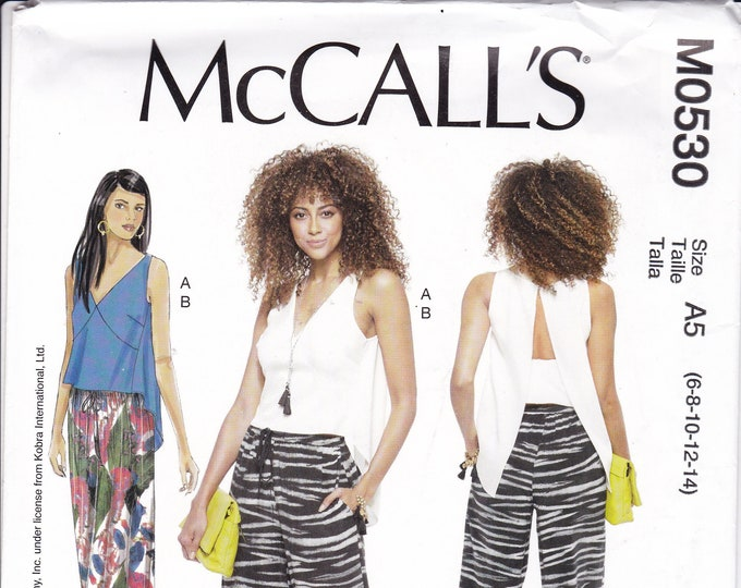 FREE US SHIP McCalls 0530 7605 Nicole Miller Open Back Blouse Pants  Uncut Sewing Pattern Size 6 8 10 12 14 Bust 29.5 30.5 31 32.5 34 36