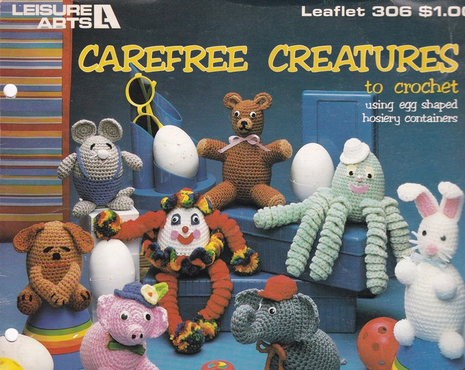 FREE US SHIP Carefree Creatures Vintage Booklet crochet Ringlet Toy Animals Octopus, Mouse, Dog, Pig Rabbit Elephant Leisure Arts 306 1984
