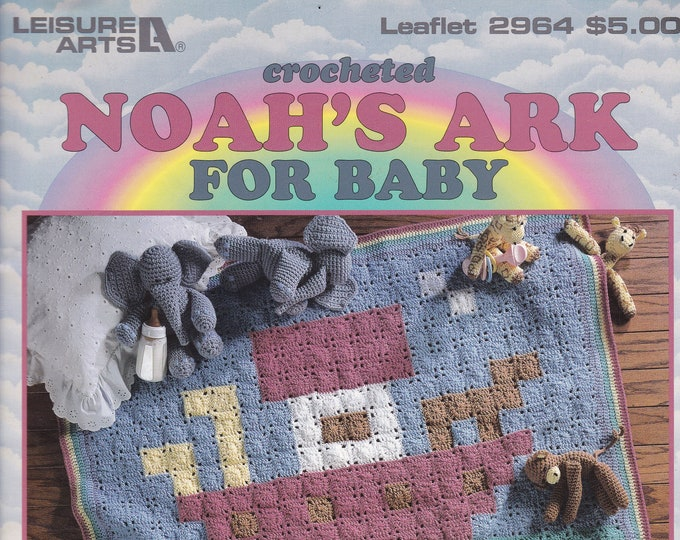 Free Us Ship Vintage Crochet Pattern Book Leaflet Leisure Arts 2964 Noah's Ark Baby Afghan and Toy Animals 1997 Monkey Elephant Giraffe
