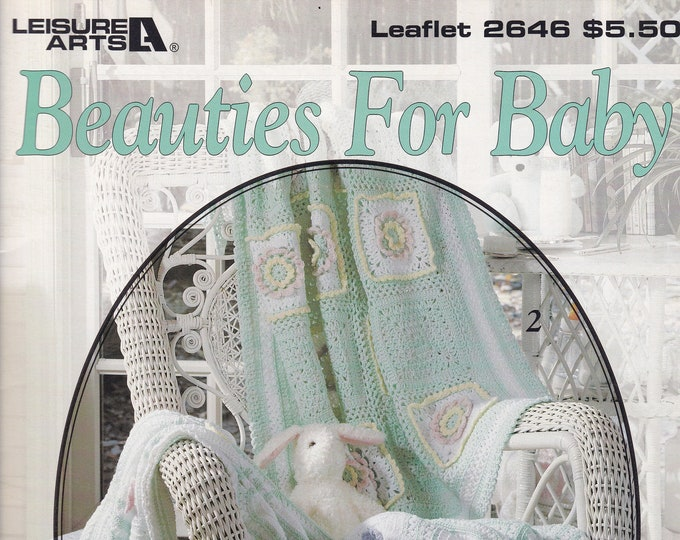 Free Us Ship Vintage Crochet Pattern Book Leaflet Leisure Arts 2646 Beauties for Baby by C Strohmeyer Out of Print 1994