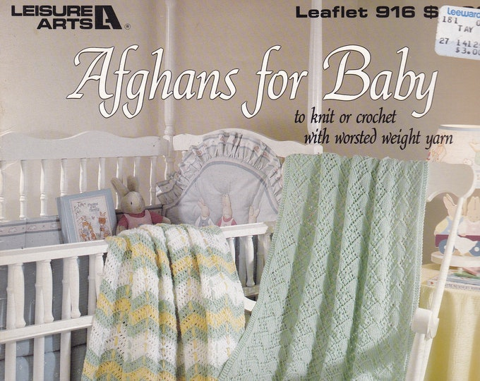 Free Us Ship Vintage Crochet Pattern Book Leaflet Leisure Arts  916 Afghans for Baby Knit Crochet Designer Carole Prior Out of Print 1990
