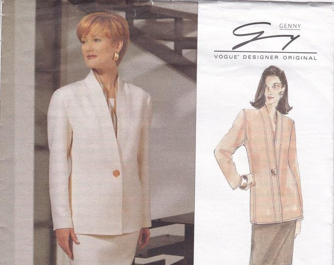 Free Us Ship Vogue 1392 Designer Original Genny 1993 Suit Jacket Skirt Uncut 8 10 12 Bust 31.5 32.5 34 Uncut Sewing Pattern Uncut  1994