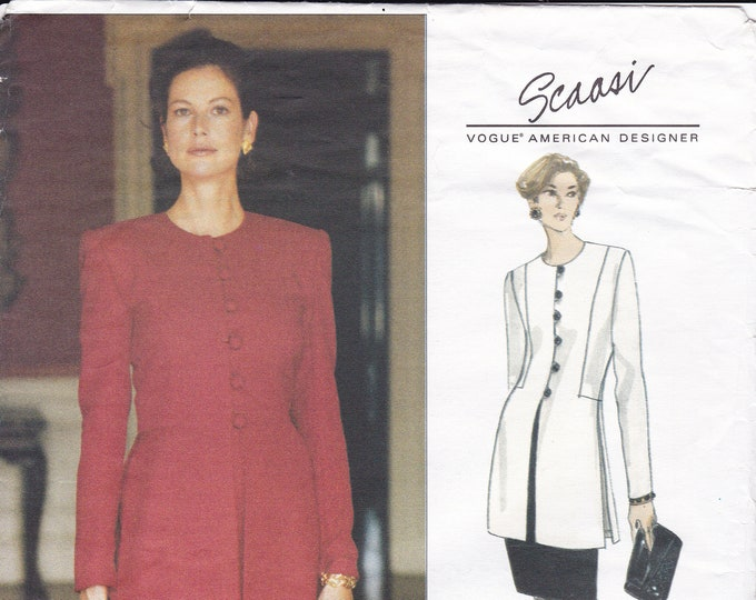 Free Us Ship Vogue 1287 Designer Scaasi 1993 Suit Jacket Skirt Uncut Size 6 8 10 Bust 30.5 31.5 32.5 Sewing Pattern Uncut Out of Print