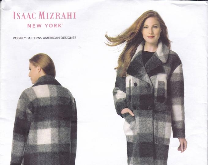 FREE US SHIP Vogue 1479 New York Designer Isaac Mizrahi Winter Box Coat Size 4 6 8 10 12 14 16 18 20 22 plus Bust 29-44 Factory Folded