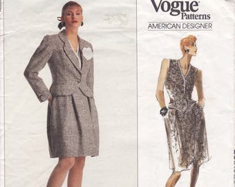 Free Us Ship Sewing Pattern Vogue 2235 Retro 1980's Bill Blass Designer Couture Suit Jacket Skirt Vest Size 10 Bust 32.5 Factory Folded