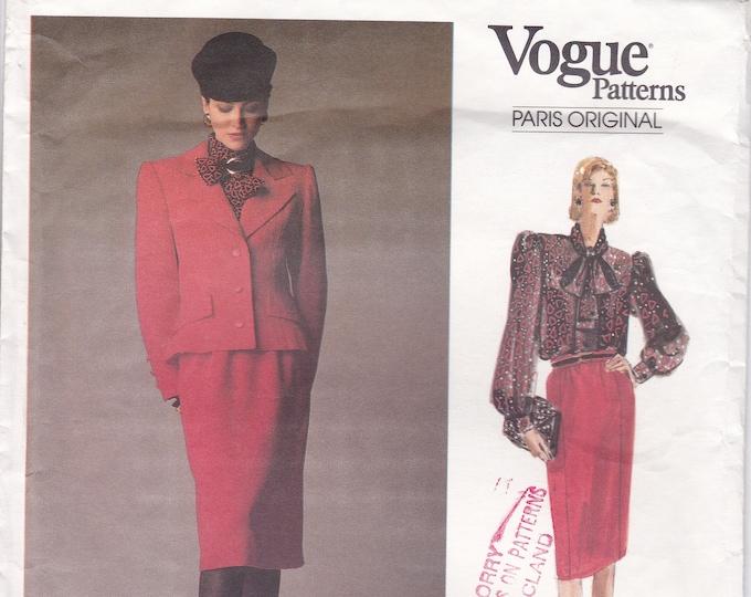 FREE US SHIP Sewing Pattern Vogue 1925 Designer Givenchy Suit Jacket Skirt Blouse Uncut Size 8 Bust 31.5 Paris Original Couture
