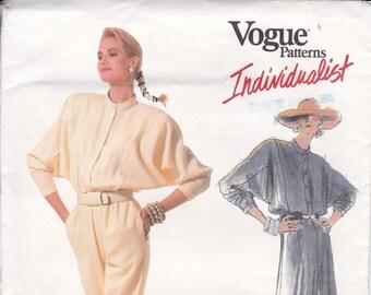 FREE US SHIP Vogue Sewing Pattern 1840 Vintage Retro 1980s Designer Carol Horn Jumpsuit Dress Dolman Uncut Individualist Size 12  new