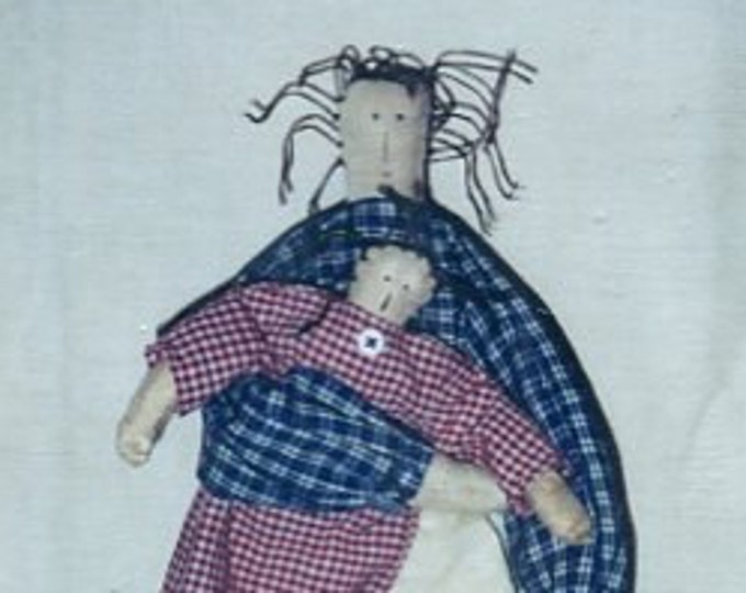 FREE US SHIP Primitive Shack Folk Art Doll Between Friends Mother & Baby  Craft Sewing Pattern Uncut 2000