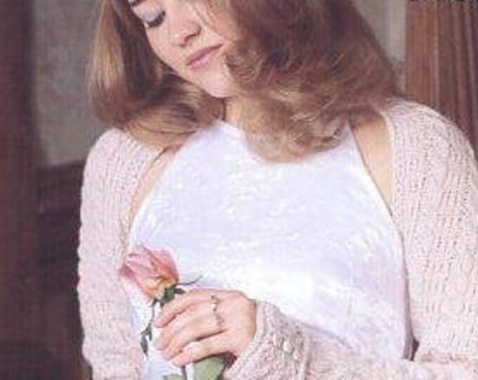 FREE US SHIP Stylish Accessories Blushing Beauty Shrug Bolero Jacket with Button Cuffs Knitting Pattern 2000