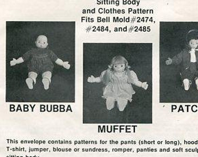 FREE usa SHIP Bell Ceramic Bubble Gum Gang Doll Patterns Baby Bubba Muffet Patches New 80s Craft Out of Print Old Store Stock Sewing Pattern