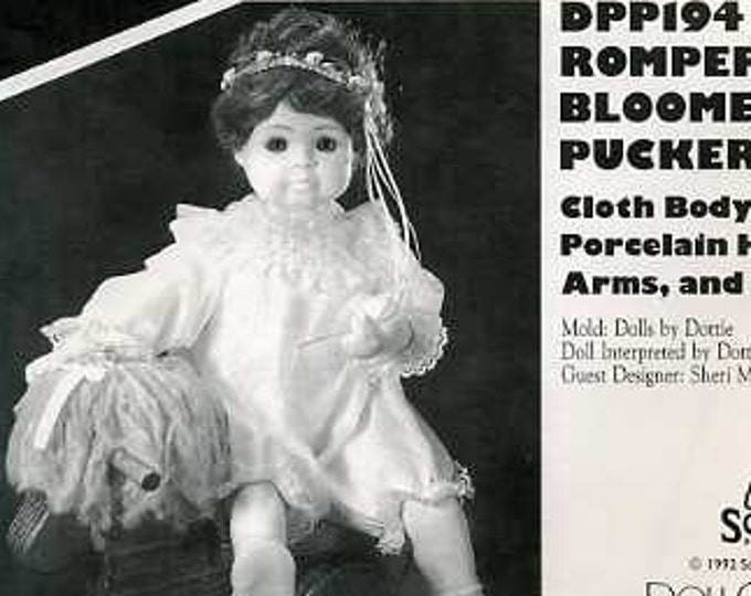 """FREE US SHIP Poissot Doll Dress Retro 90's dpp194 Rompers Bloomers 17"""" Doll Clothes Sewing Pattern Insert From Dollcrafter Vintage Magazine"""