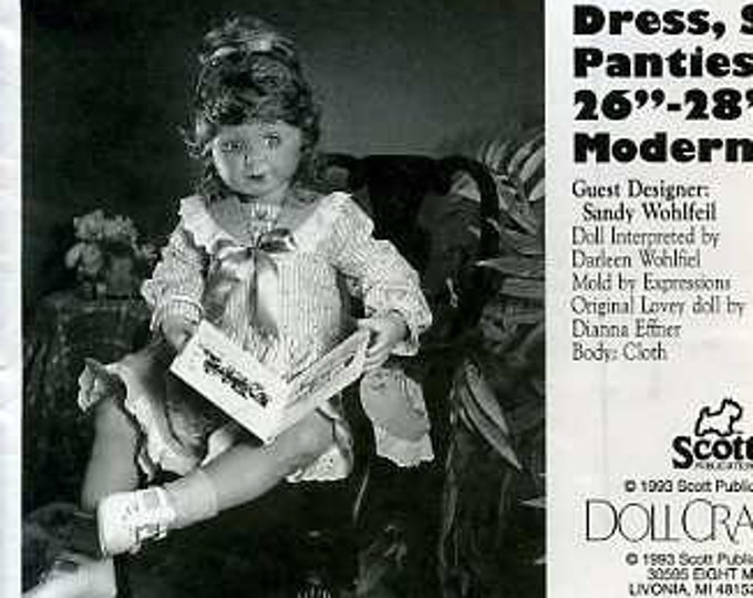 """FREE US SHIP Poissot Doll Dress Retro 1990's dpp209 Dress Slip 26 28"""" Doll Clothes Sewing Pattern Insert From Dollcrafter Vintage Magazine"""