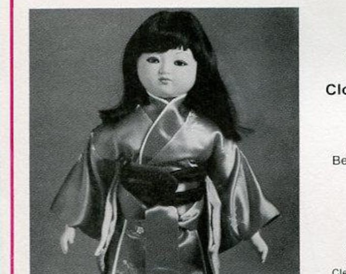 """FREE usa SHIP Bell Ceramics 2396 15"""" Cloth Body & Clothes Pattern Suzi Japanese Girl 1984 Craft Out of Print Old Store Stock Sewing Pattern"""
