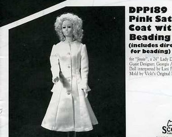 """FREE US SHIP Poissot Doll Dress Retro 1990's dpp189 Pink Satin Coat bead trim 24"""" Sewing Pattern Insert From Dollcrafter Vintage Magazine"""