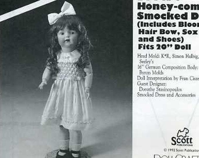 "FREE US SHIP Poissot Doll Dress Retro 1990's dpp190 Honey Comb Smocking Dress 20"" Sewing Pattern Insert From Dollcrafter Vintage Magazine"