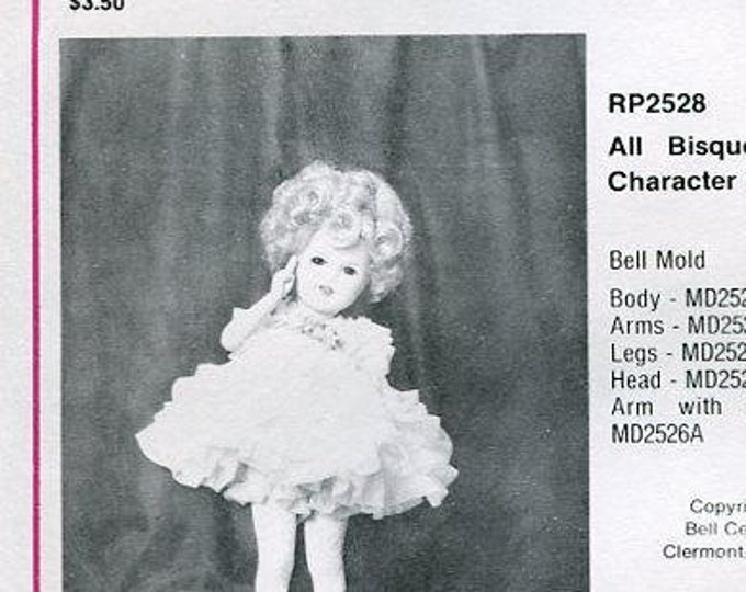 """FREE usa SHIP Bell Ceramics 2528 12"""" All Bisque Character Doll Clothes Wardrobe 1986 Craft Out of Print Old Store Stock Sewing Pattern"""