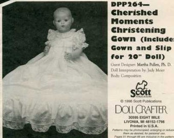 """FREE US SHIP Poissot Doll Dress Pattern Retro 1990's dpp264 Christening Gown 20"""" Sewing Pattern Insert From Dollcrafter Vintage Magazine"""