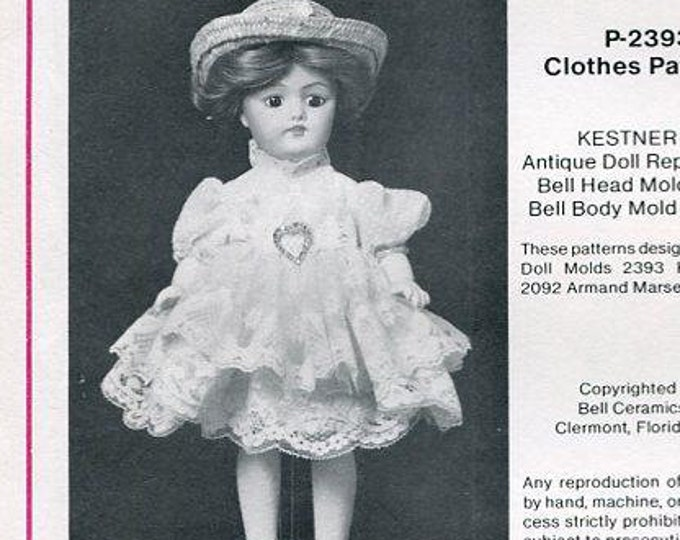 """FREE usa SHIP Bell Ceramics 10"""" Knave of Hearts Doll Clothes Wardrobe 80s 2393 Kestner 168 Craft Out of Print Old Store Stock Sewing Pattern"""