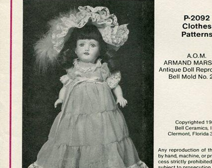 """FREE usa SHIP Bell Ceramic 13"""" Armand Marseille 2092 Antique Doll Clothes Wardrobe 1983 Craft Out of Print Old Store Stock Sewing Pattern"""