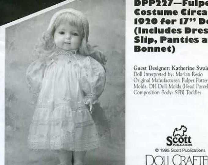"FREE US SHIP Poissot Doll Dress Retro 1990's dpp 227 Fulper Costume Circa 1920 17"" Sewing Pattern Insert From Dollcrafter Vintage Magazine"