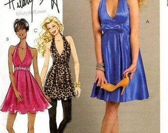 dc147e385cccc Sewing Pattern McCall s 5748 Hillary Duff Halter Dress 2008 Brand New Out  of Print Size 4 6 8 10 12 Bust 29 30 31 32 34