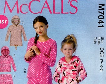 McCall's 7041 Kids Sewing Pattern Free Us Ship Girl's Robe Nightgown PJ's Pajamas Hoody Fleece Top Pants Size 3 4 5 6  New Out of Print