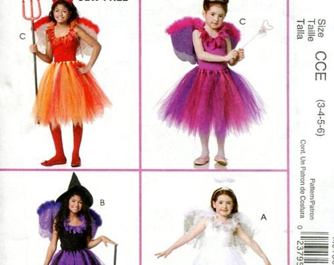 FREE US SHIP Sewing Pattern  McCall's 371 6186 Girls Tutu Dress Dance Halloween Costume Devil Angel Witch Size 3-6 7-14 Toddler Uncut New