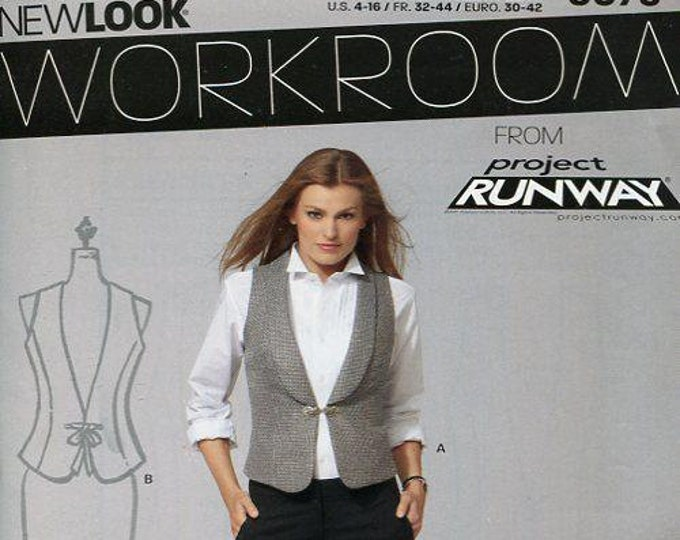 FREE US SHIP New Look 6075 Project Runway Tuxedo Vests Uncut New Sewing Pattern Size 4 6 8 10 12 14 16 Bust 29 30 32 34 36 38