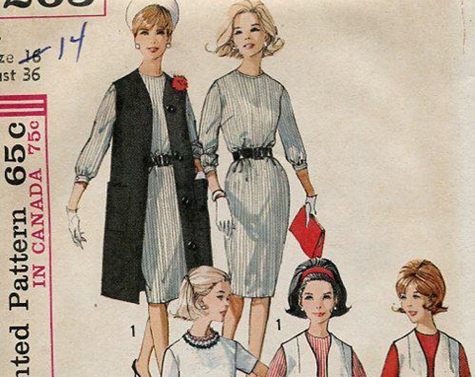 FREE US SHIP Original Uncut Simplicity 5263 Retro 1960's 60s Jackie Dress Duster Vest 36 Sewing Pattern